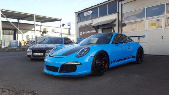 folierung würzburg Porsche GT3 Komplettfolierung Light Blue