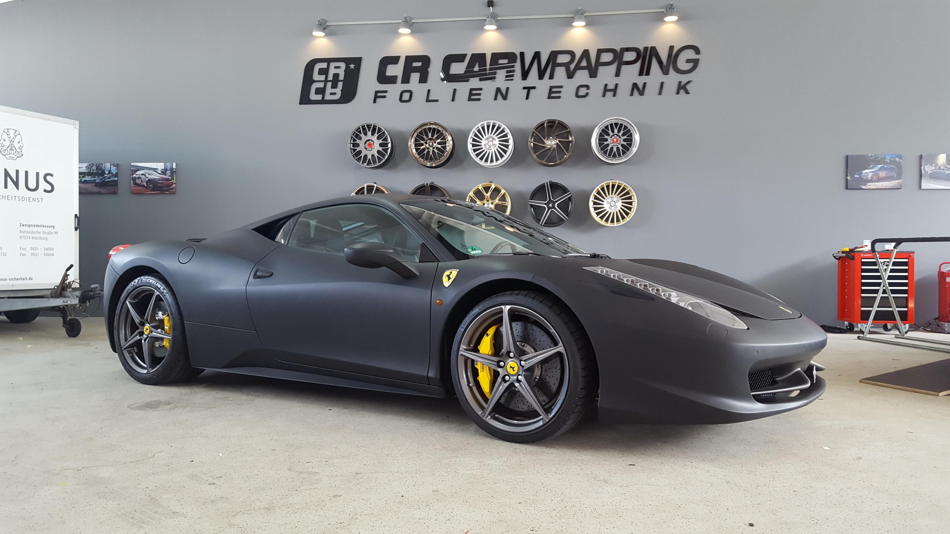 folierung würzburg Ferrari 458 Komplettfolierung matt schwarz